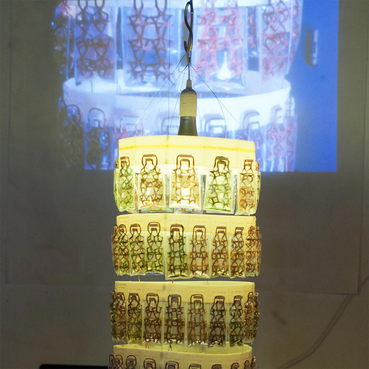 a lamp with several layers of designs