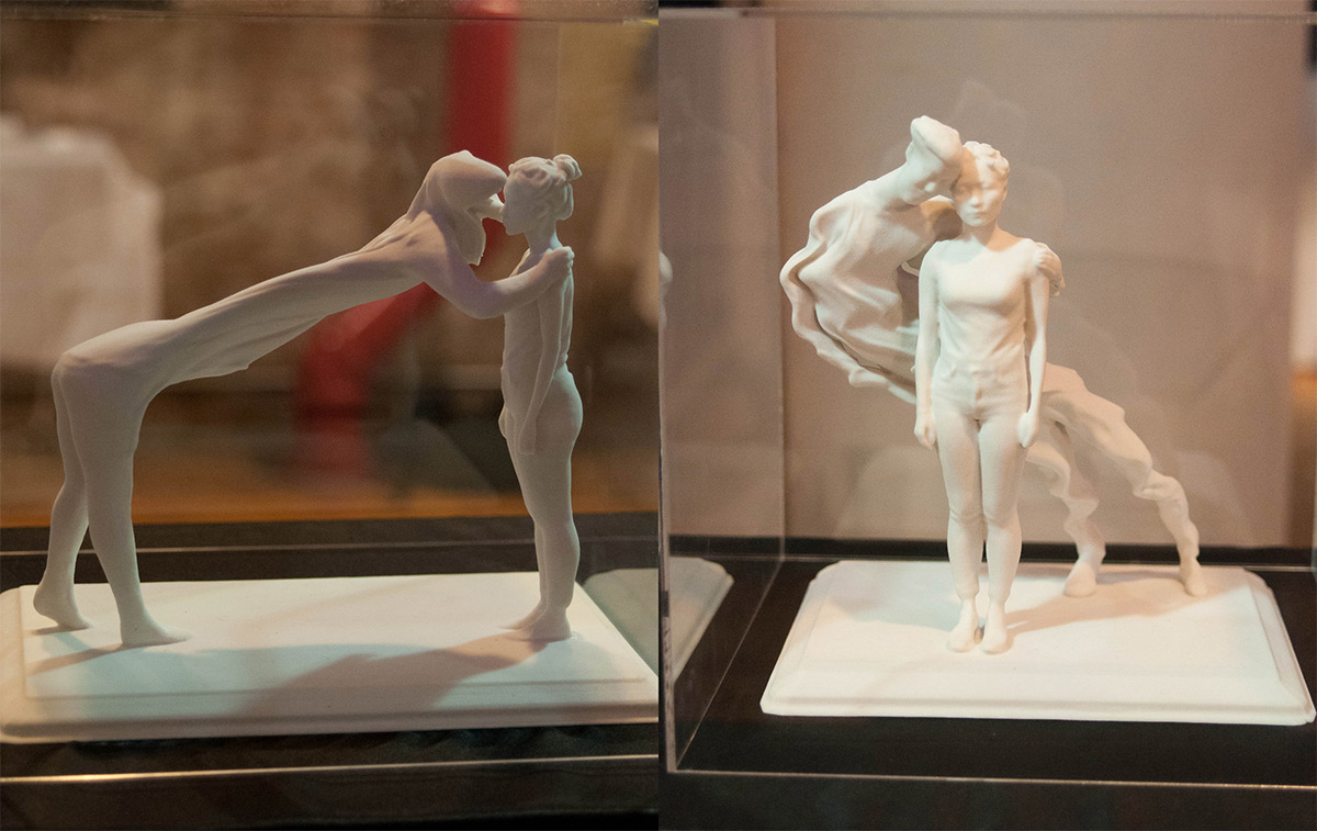 2 sets of sculptures that show people in movement