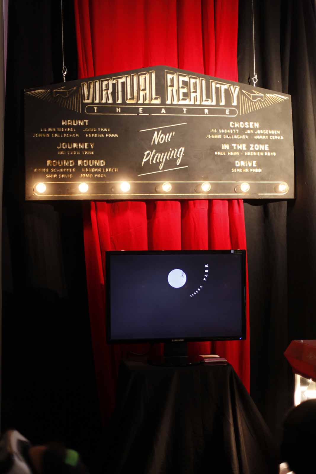 a sign for the Virtual Reality Theatre