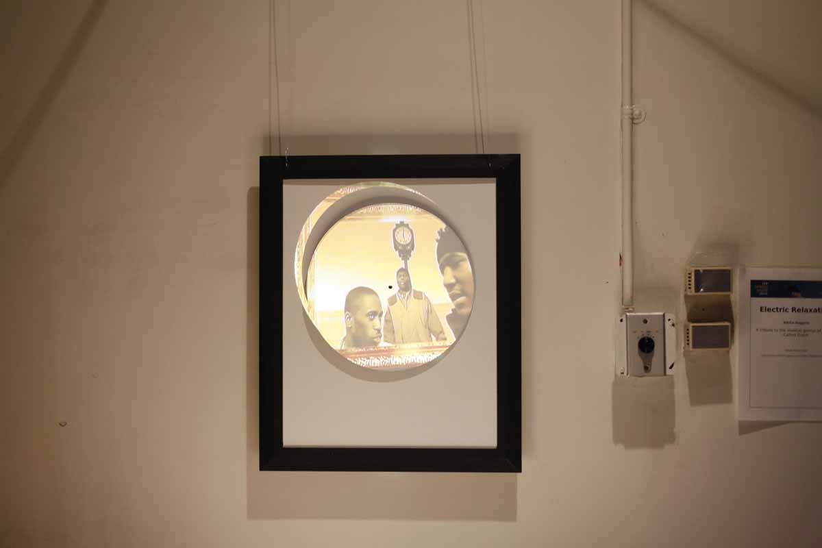 a framed image with a circular projection