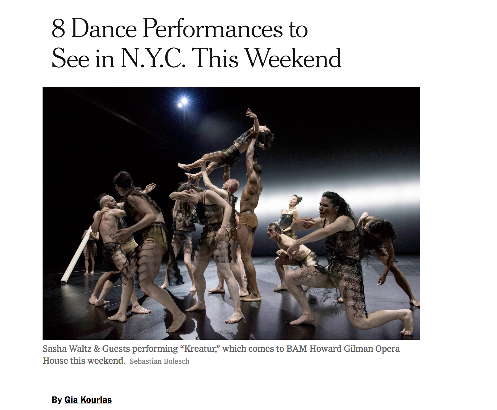 "Photo of the New York Times article ""8 Dance Performances to See in NYC this Weekend"""