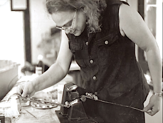 DONNA CAMERON AT WORK IN MIXTER STUDIO. PHOTO BY JOANNA MORISSEY.