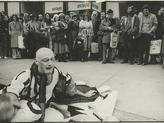 Jimmy DeSana, Stephen Varble performing Gutter Art, November 1975. Photograph courtesy Fales Library & Special Collections, New York University. ©Jimmy DeSana Trust, 2018.