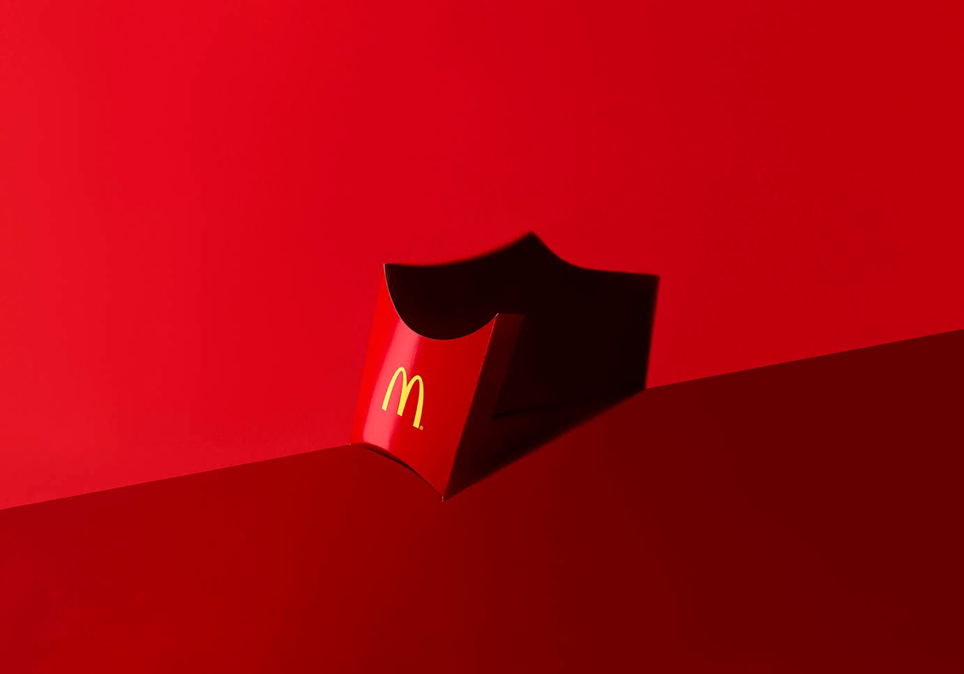 mcdonalds box on red background
