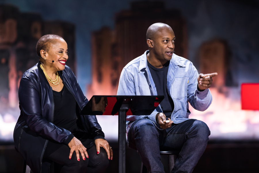 Deb Willis and Hank Willis Thomas at TED Women 2017, New Orleans, November 2017. Courtesy TED