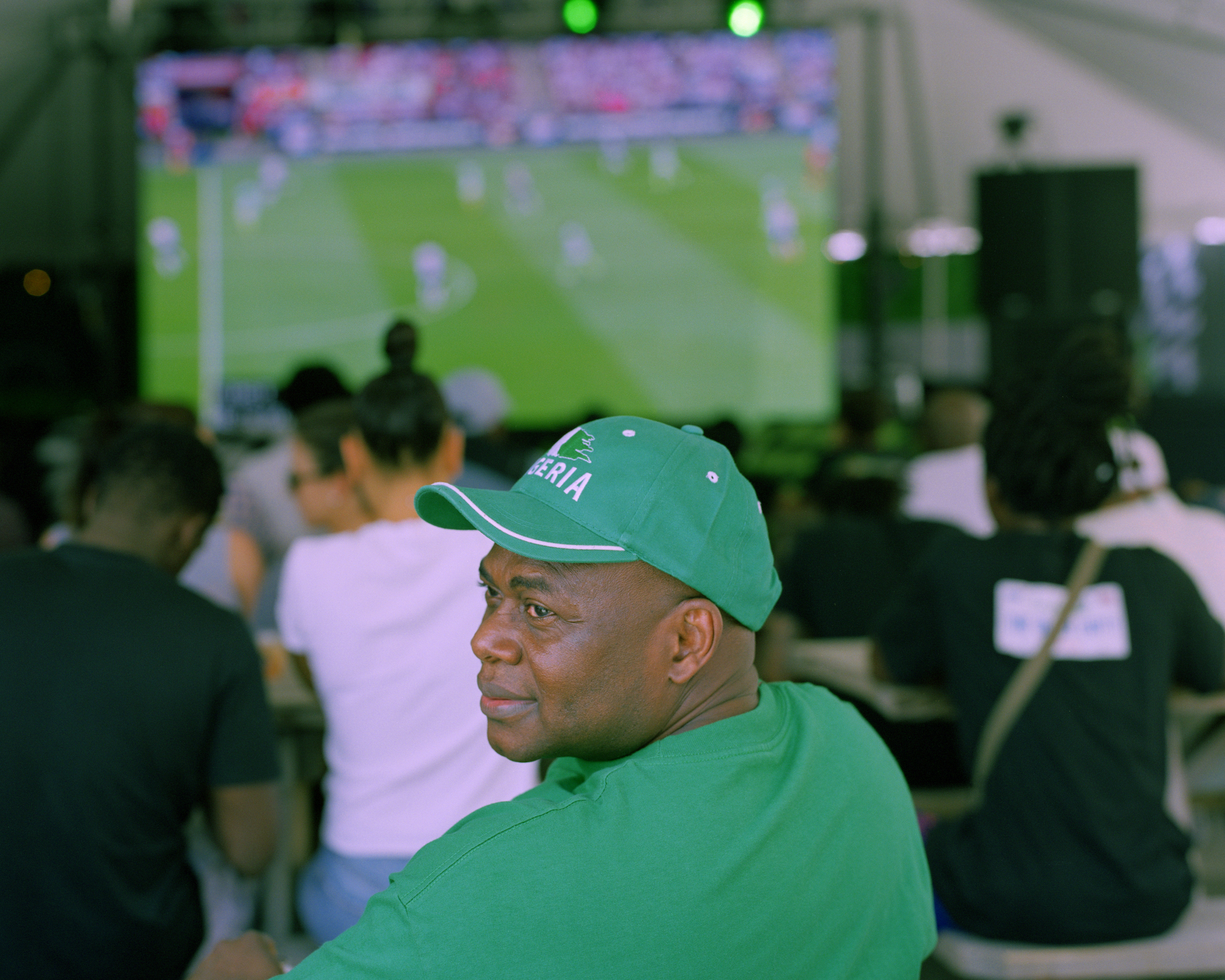 A fan watching a friendly match between Nigeria and England in Brooklyn, ahead of the 2018 World Cup.