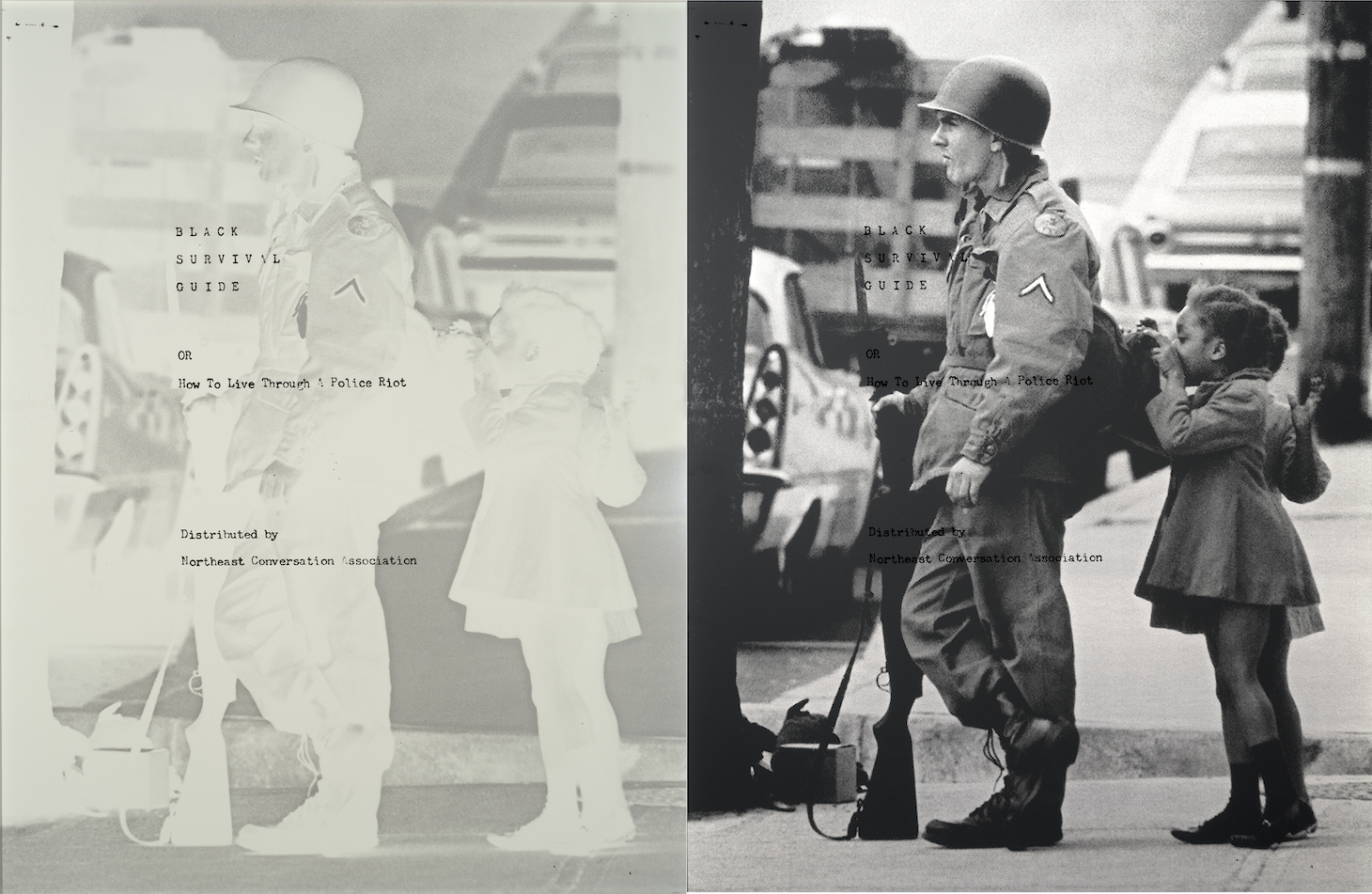 screen print on retroreflective vinyl with aluminum backing, photograph of Wilmington riots and National Guard occupation