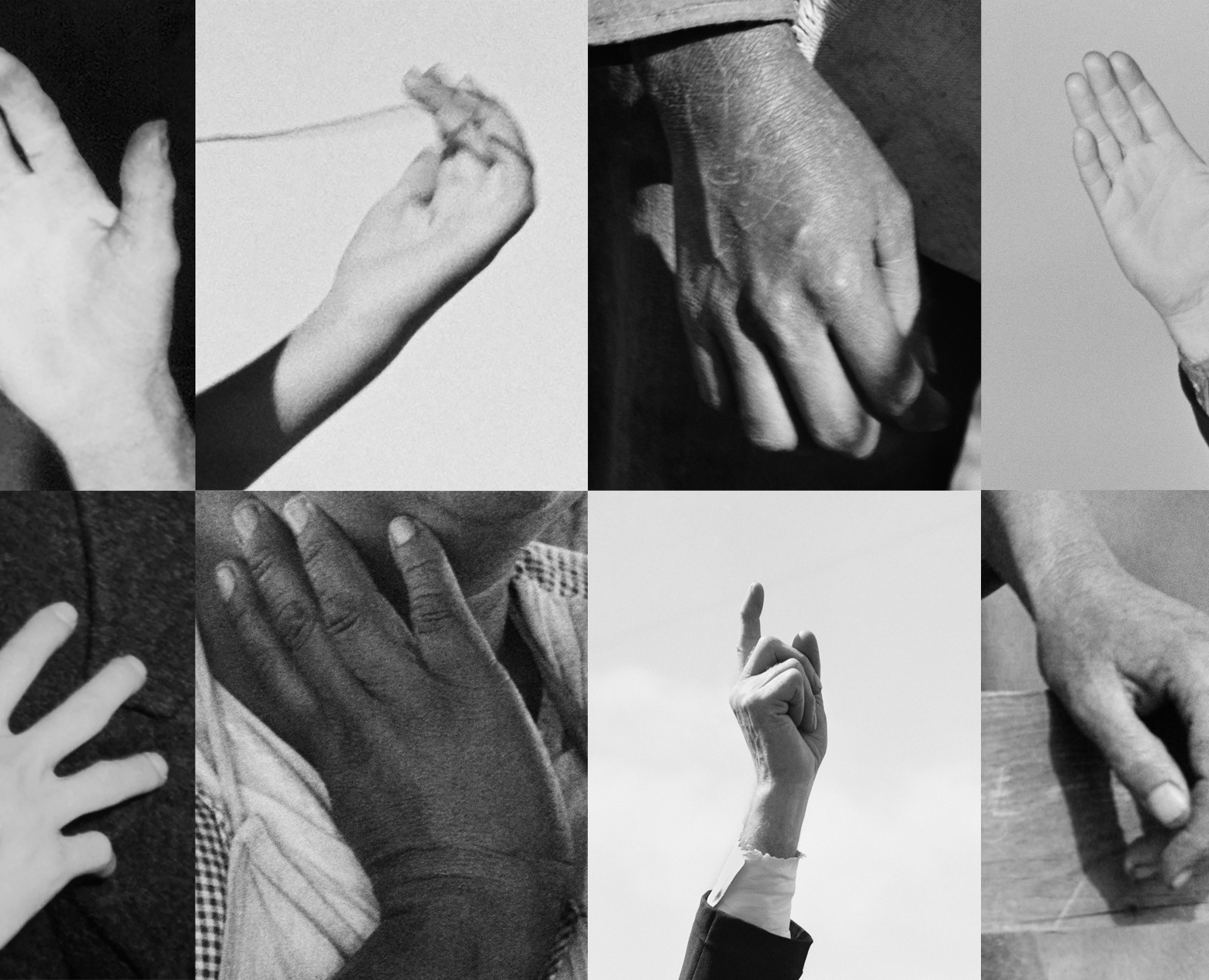 black and white photo collage of hands by artist sam contis