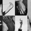 grid of black and white photos depicting human hands