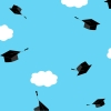 animated gif of graduation caps (mortarboard) thrown into the air