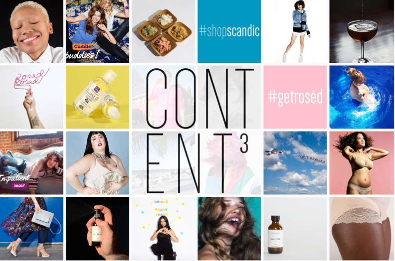 grid of images with content cubed logo