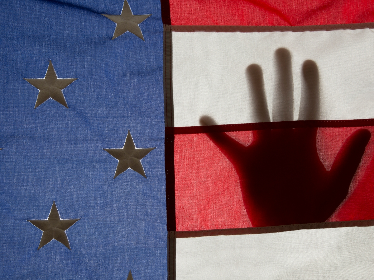 Color photo of a hand silhouetted behind an American flag by Chester Higgins