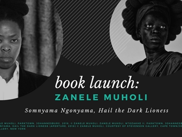 book cover photo with artist headshot and stylized portrait depictions of Zanele Muholi