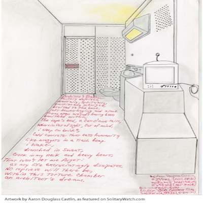 a drawing with inset text created by a prisoner in the US penal system via SolitaryWatch.com