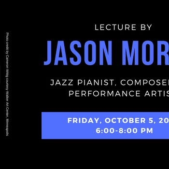 photo of Jason Moran, composed on top of text with event info and a piano