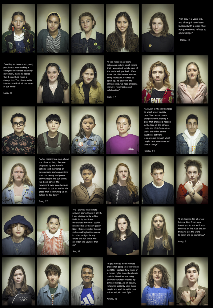 grid of photographs of youth climate activists