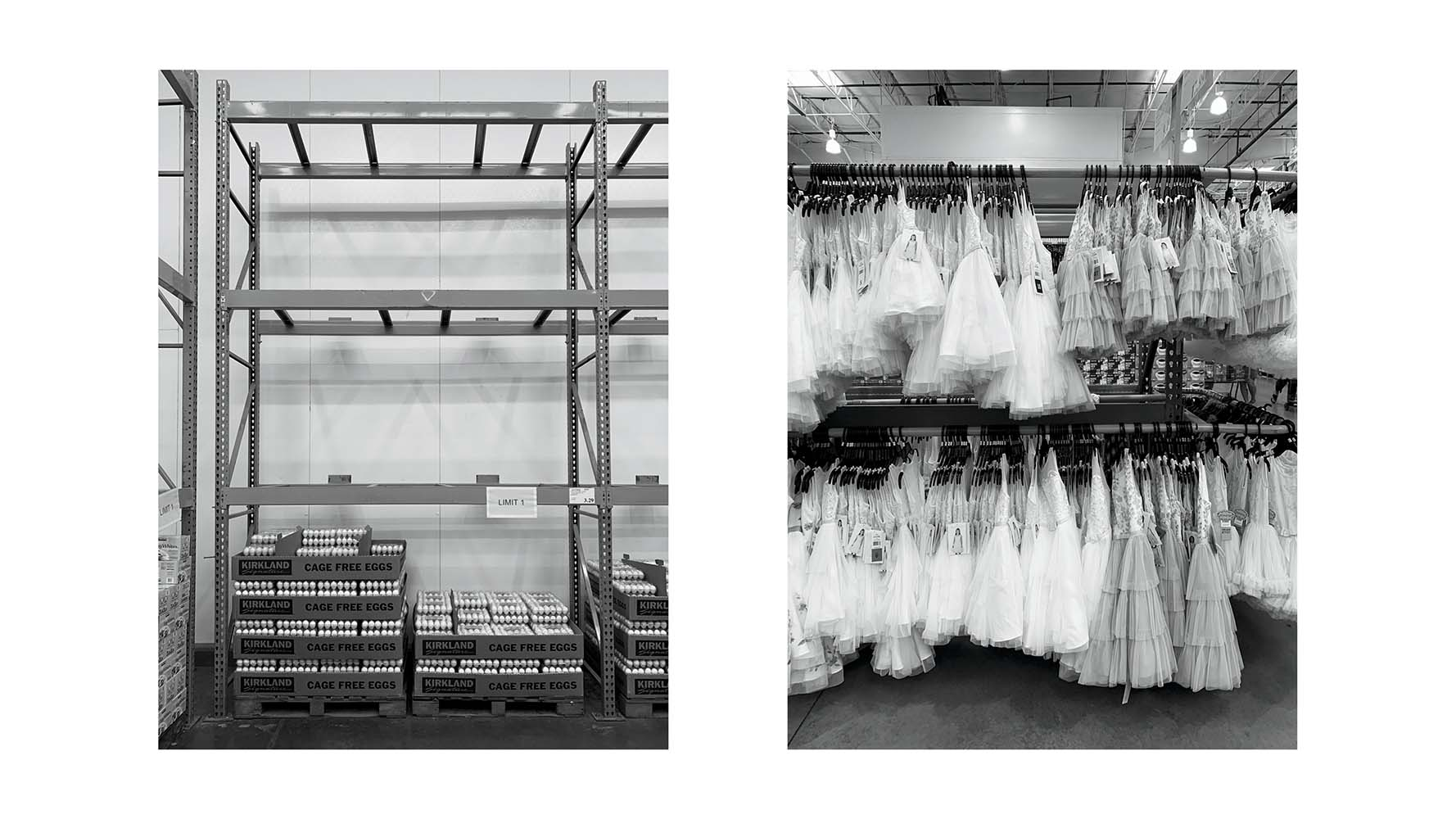 diptych of empty and full store shelves