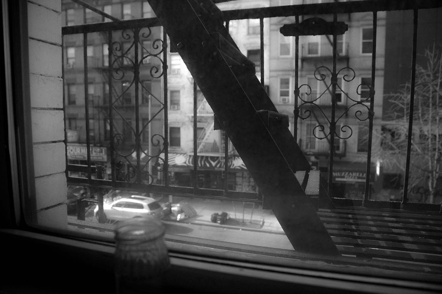 bw photo of nyc fire escape