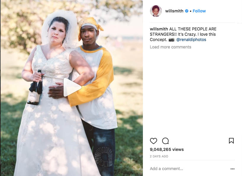 "Screenshot of Will Smith's Instagram post of a video about Richard Renaldi's Touching Strangers project. A photo of a woman in a wedding dress embracing a stranger outdoors. The text ""willsmithALL THESE PEOPLE ARE STRANGERS!! It's Crazy. I love this Concept. 📷: @renaldiphotos"""