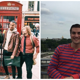 Left-hand image: Greg Contaldi standing with a group of students in front of red telephone boxes; Right-hand image: Greg Contaldi standing in front of the Eiffel Tower