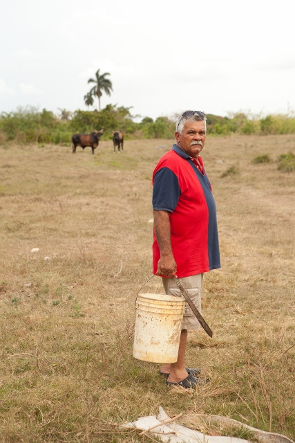 Older farmer holding a bucket in his field, looking at the camera.