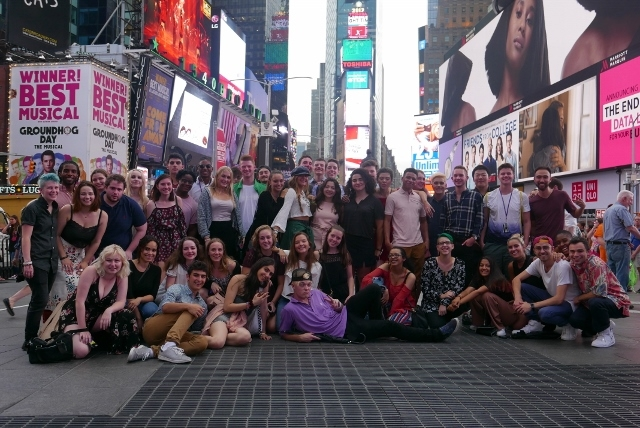 Group photo of the 2017 Recorded Music students in Times Square