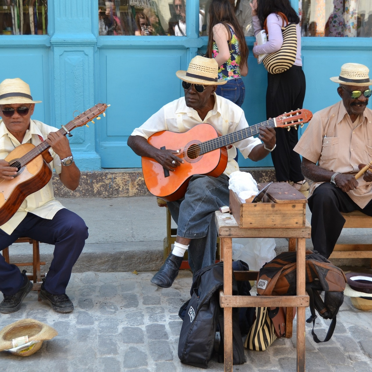 Guitarists playing on the street in Havana, Cuba