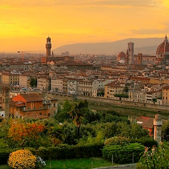 Skyline of Florence, Italy at sunset.