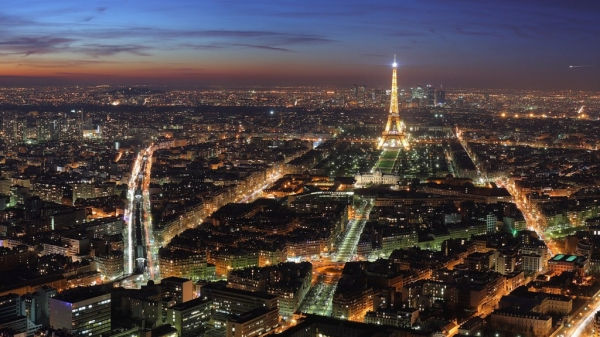 Overhead shot of Paris at night