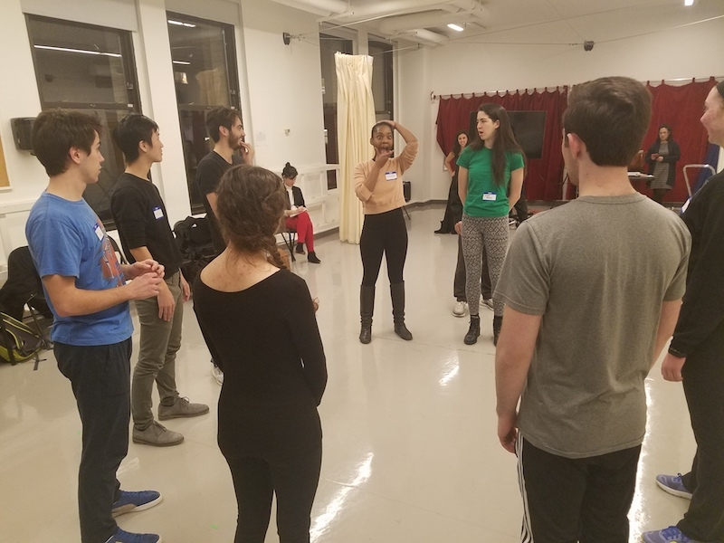 Students participating in the Commedia workshop with Jim Calder.