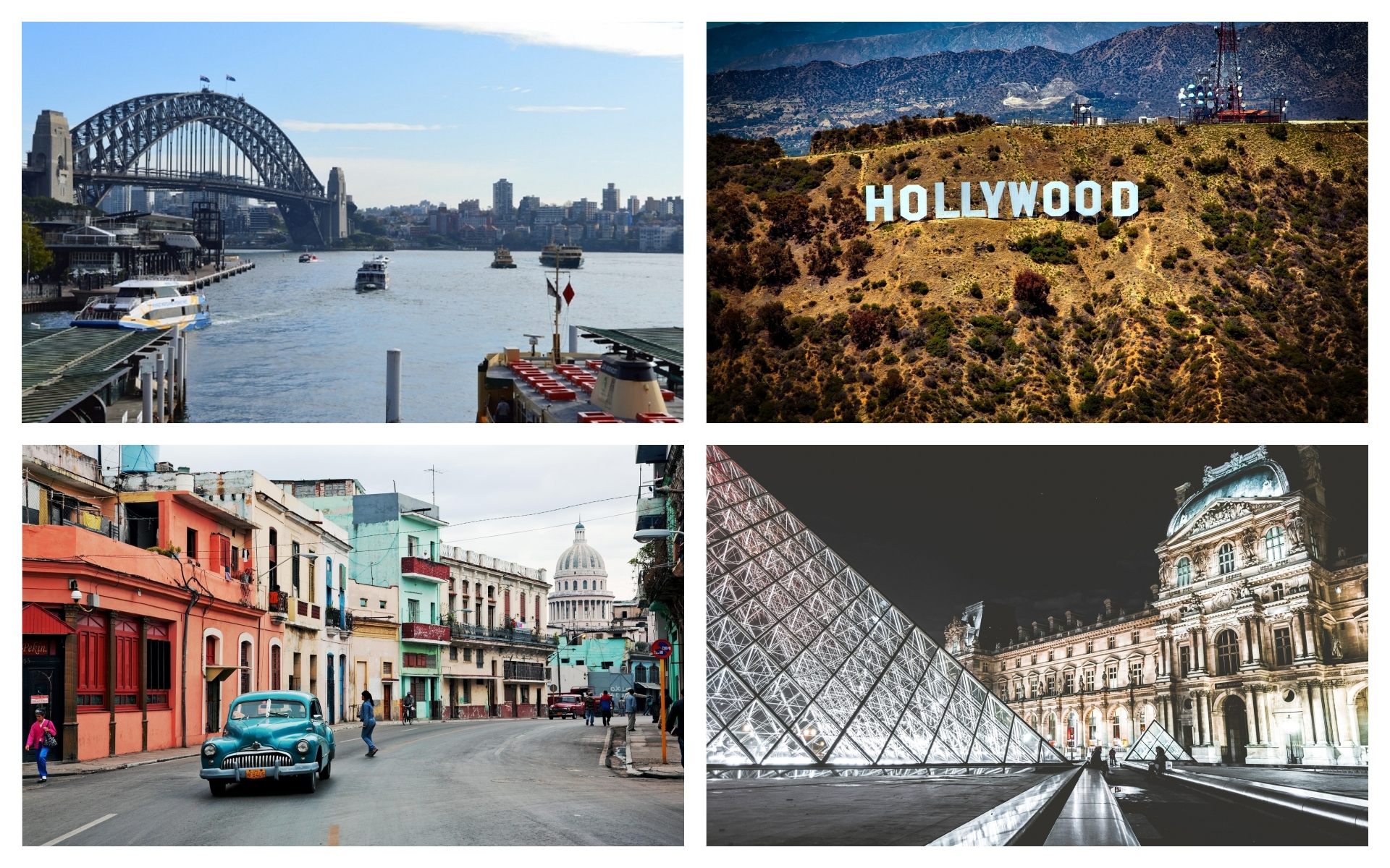 Photos of Sydney Harbour, The Hollywood Sign, Havana, Cuba, and the Louvre museum in Paris