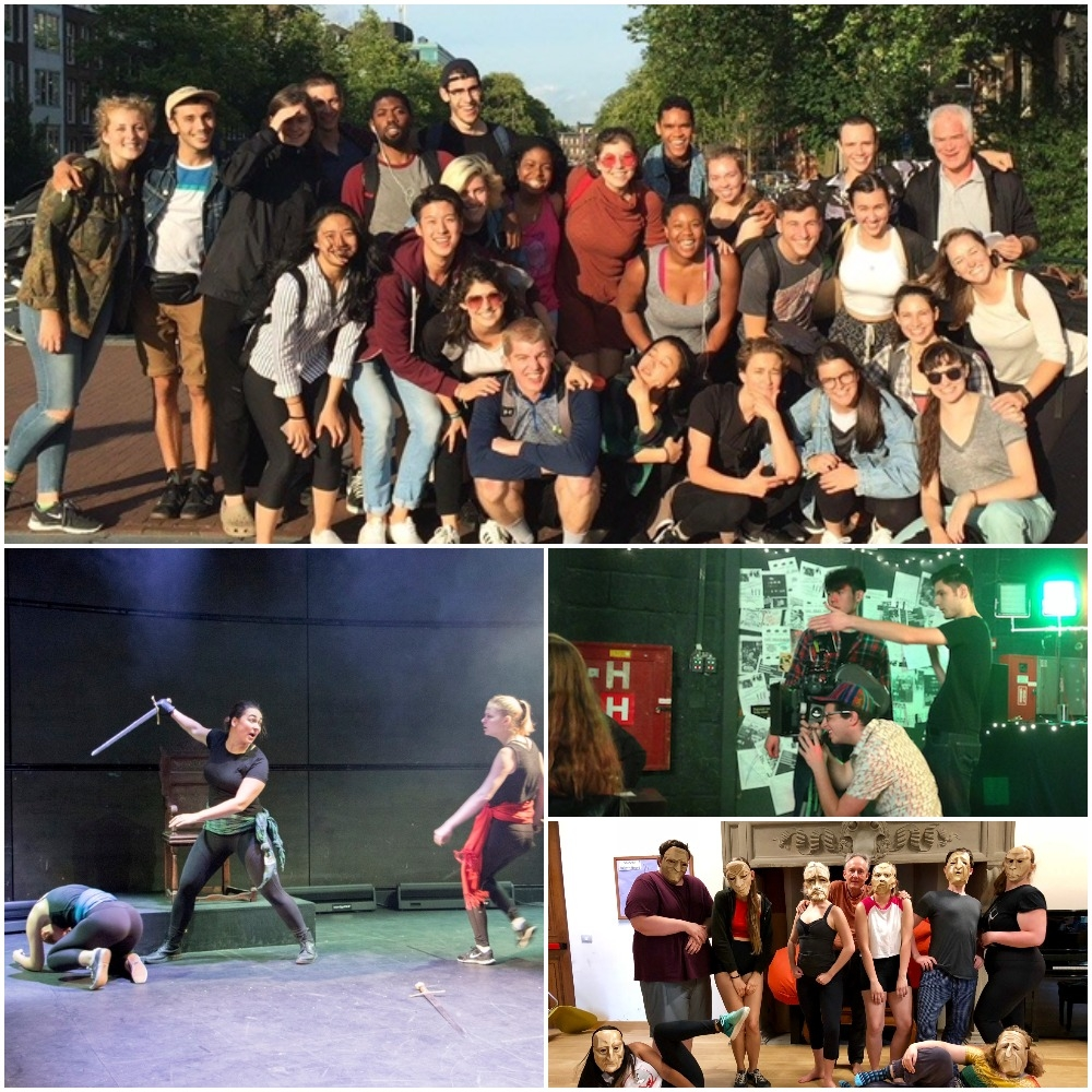 Collage of images: summer 2016 International Theatre Workshop in Amsterdam class; students filming on set during 35mm Visual Storytelling at FAMU; summer 2018 Commedia dell'Arte class wearing theatrical masks; fall 2017 Shakespeare in Performance at RADA class final presentation of Henry IV.