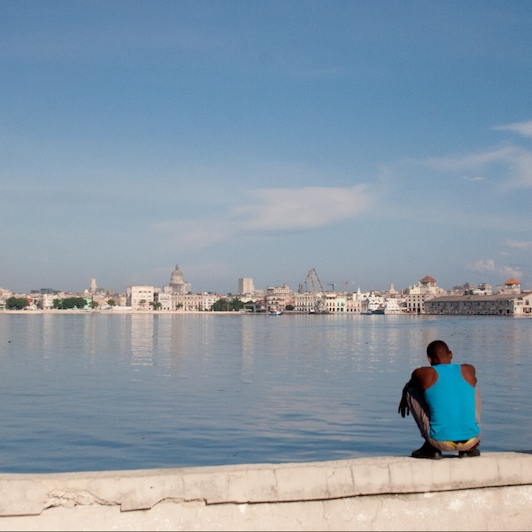 Two men at the shore of Havana, Cuba