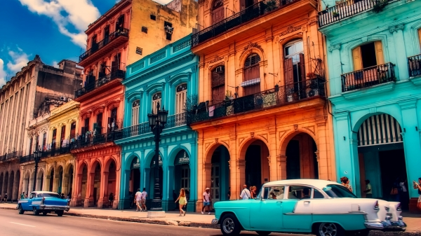 Location photo of buildings and cars in Havana, Cuba.