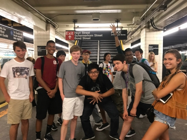 Tisch Summer High School students waiting for the subway in Brooklyn.