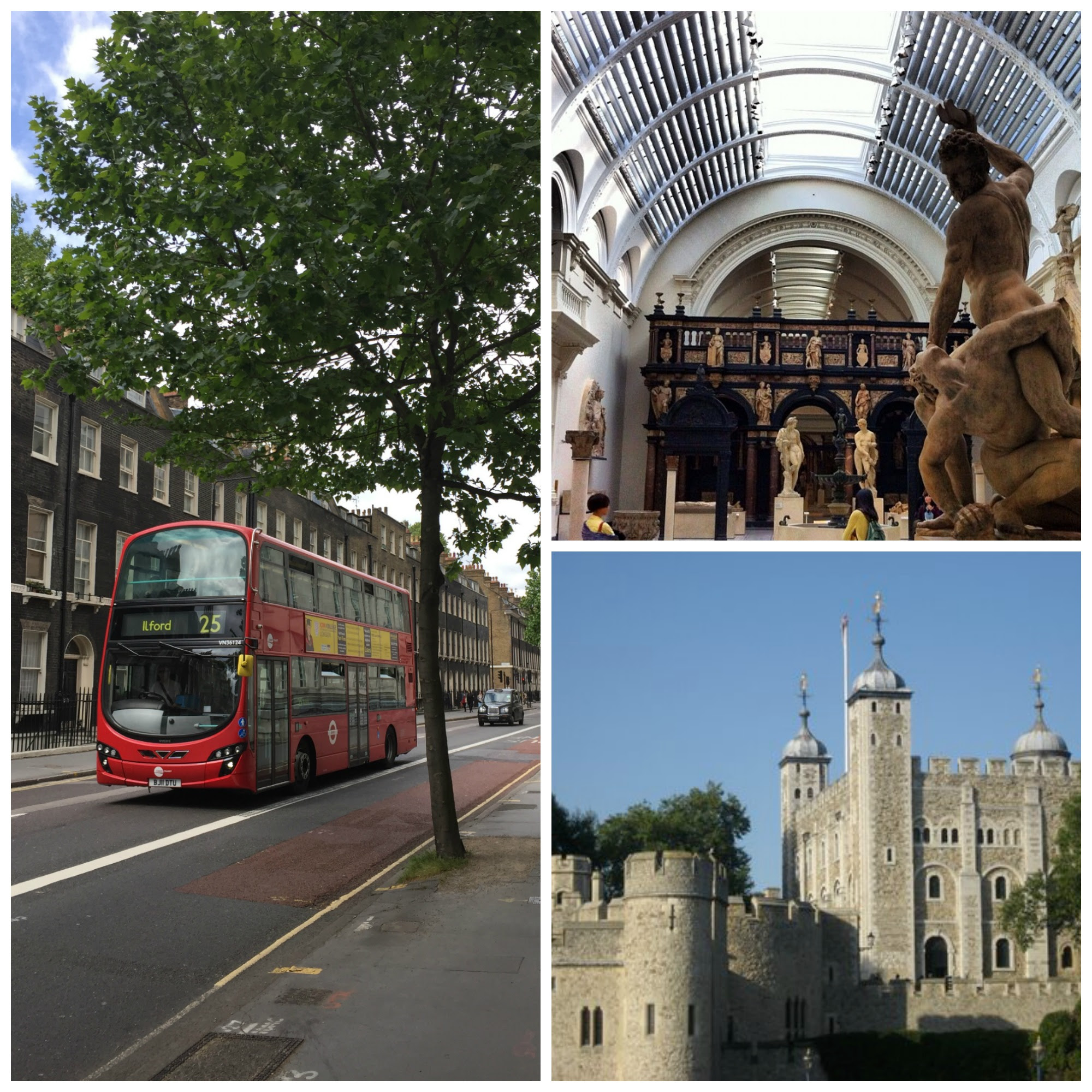 London location images, including a red double-decker bus, the Tate museum, and an English castle.