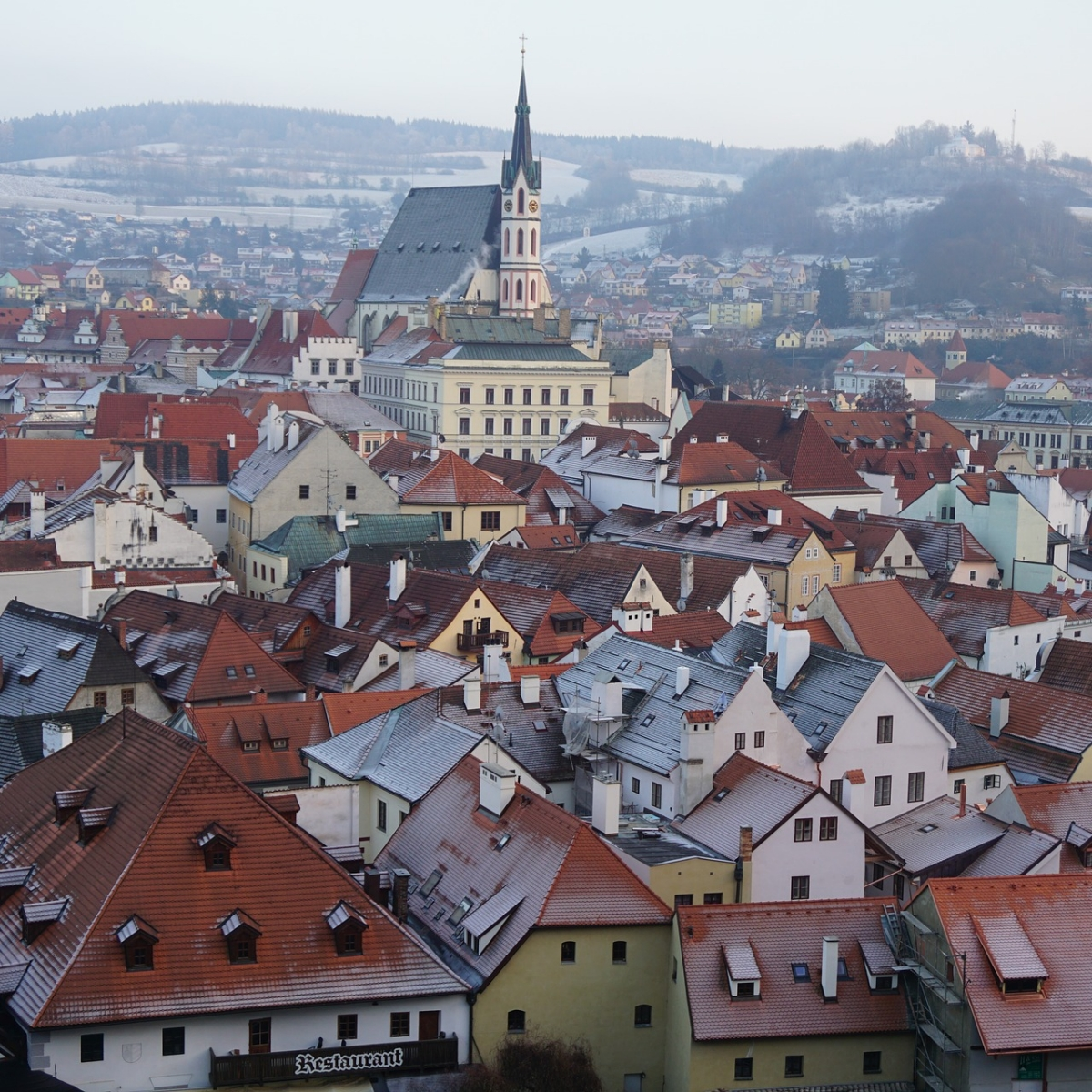 Photo of the brown rooftops of Prague.
