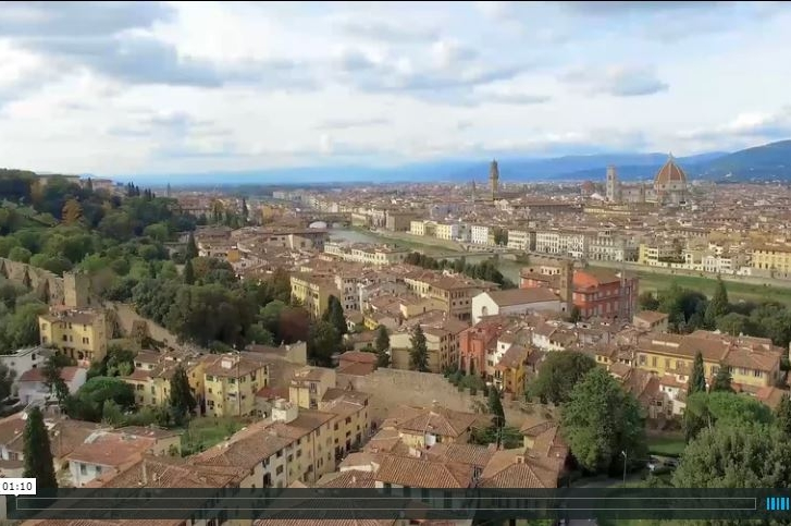 This is a sizzle reel highlighting Tisch study abroad locations. The image from the video shown is an aerial shot of Florence.
