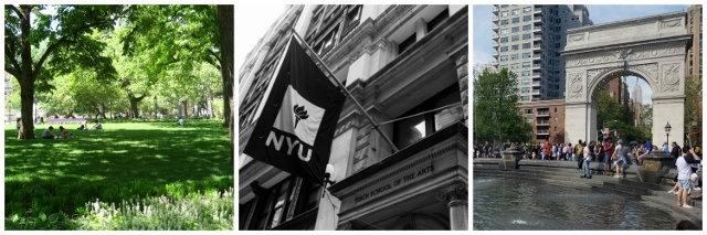 Collage of photos. Left to right: Students sitting on the grass in Washington Square Park; Black and white photo of the NYU flag outside the Tisch School of the Arts building; and the Arch in Washington Square Park.