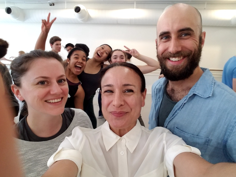 Helen Simoneau, Director of Helen Simoneau Danse, dancer/choreographer Burr Johnson and Pamela Pietro with dance students in the background